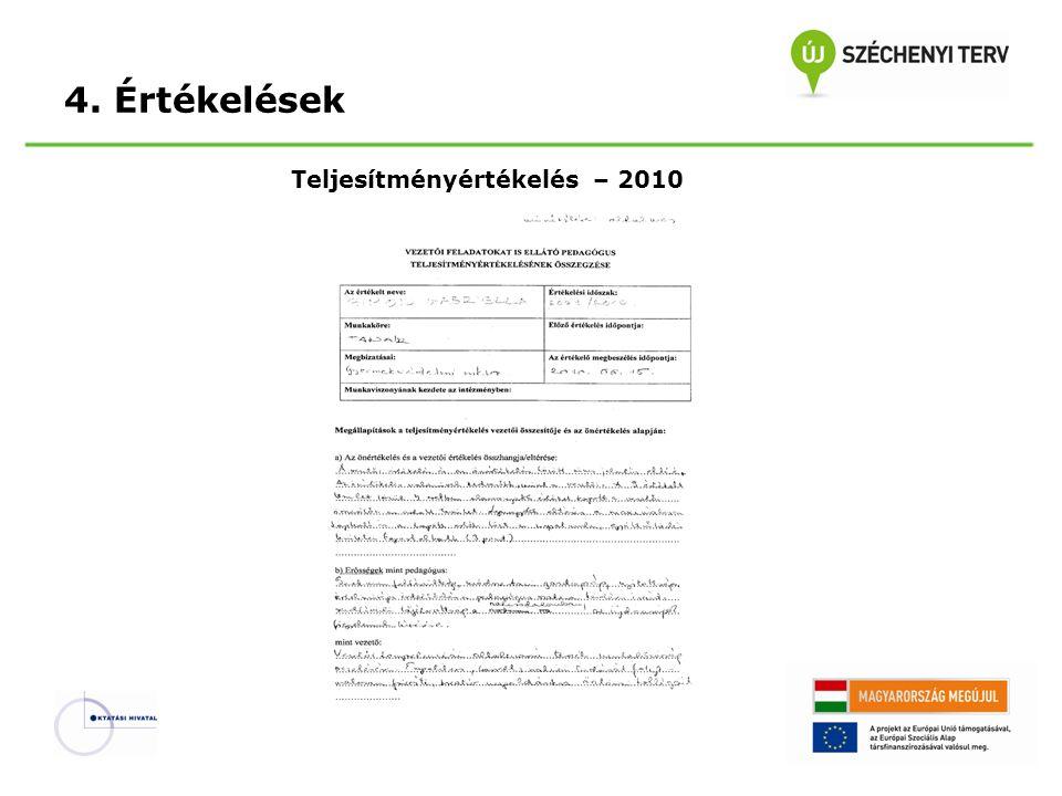 Teljesítményértékelés – 2010 4. Értékelések