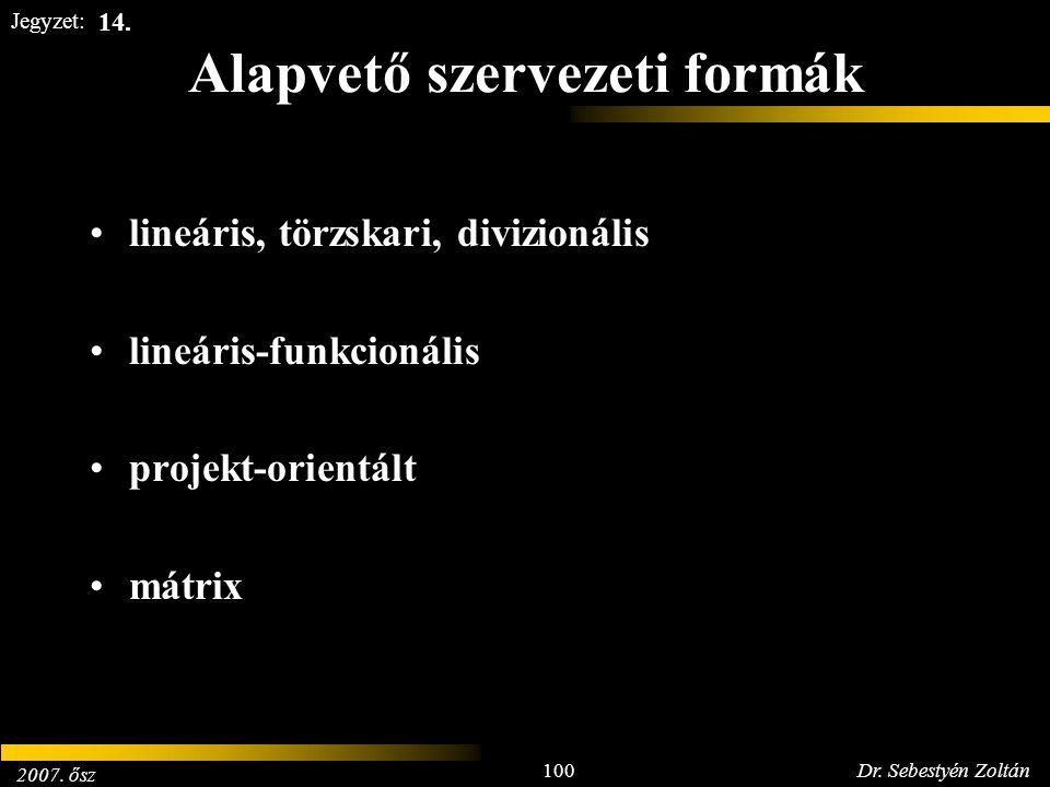 2007. ősz 100Dr. Sebestyén Zoltán Jegyzet: Alapvető szervezeti formák lineáris, törzskari, divizionális lineáris-funkcionális projekt-orientált mátrix