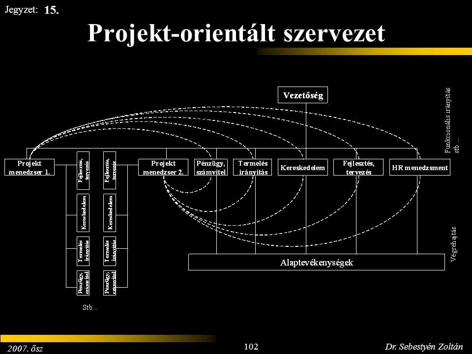2007. ősz 102Dr. Sebestyén Zoltán Jegyzet: Projekt-orientált szervezet 15.