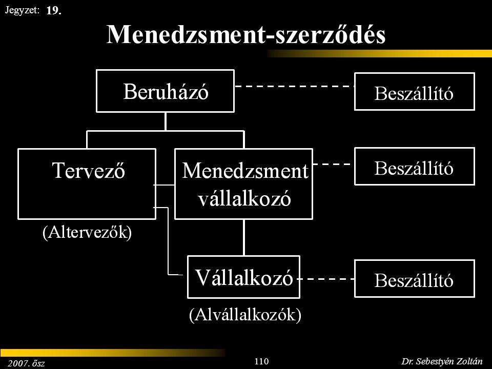 2007. ősz 110Dr. Sebestyén Zoltán Jegyzet: Menedzsment-szerződés 19.