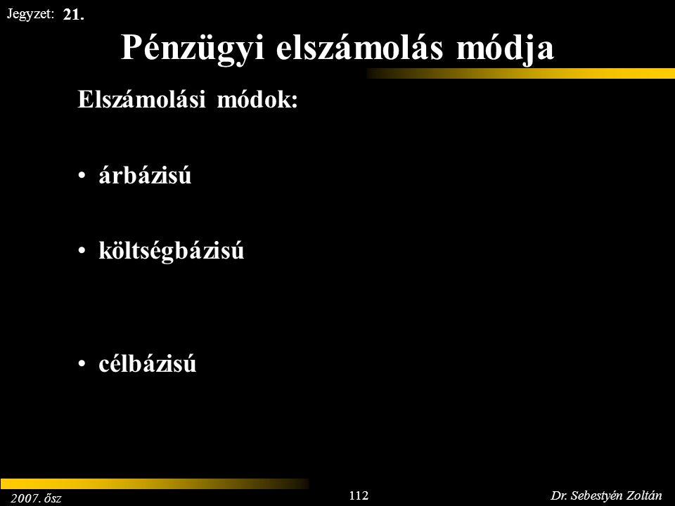 2007. ősz 112Dr. Sebestyén Zoltán Jegyzet: Pénzügyi elszámolás módja Elszámolási módok: árbázisú költségbázisú célbázisú 21.