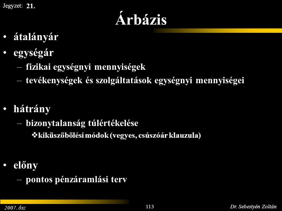 2007. ősz 113Dr. Sebestyén Zoltán Jegyzet: Árbázis átalányár egységár –fizikai egységnyi mennyiségek –tevékenységek és szolgáltatások egységnyi mennyi