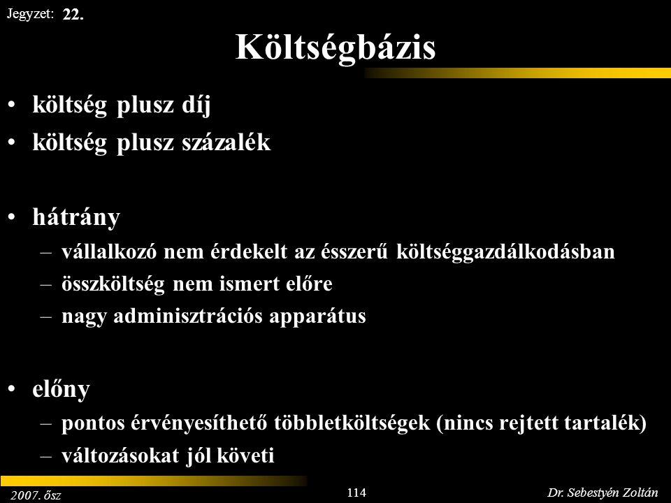 2007. ősz 114Dr. Sebestyén Zoltán Jegyzet: Költségbázis költség plusz díj költség plusz százalék hátrány –vállalkozó nem érdekelt az ésszerű költségga