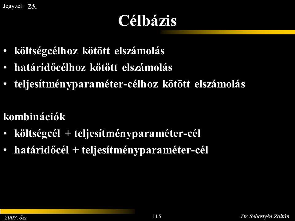 2007. ősz 115Dr. Sebestyén Zoltán Jegyzet: Célbázis költségcélhoz kötött elszámolás határidőcélhoz kötött elszámolás teljesítményparaméter-célhoz kötö
