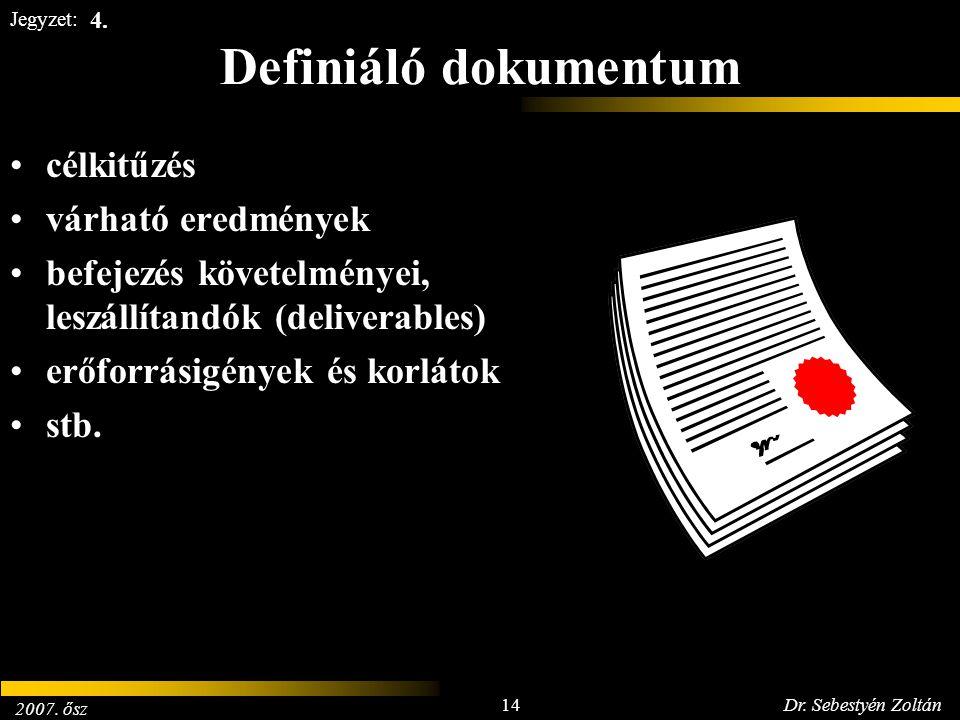 2007. ősz 14Dr. Sebestyén Zoltán Jegyzet: Definiáló dokumentum célkitűzés várható eredmények befejezés követelményei, leszállítandók (deliverables) er