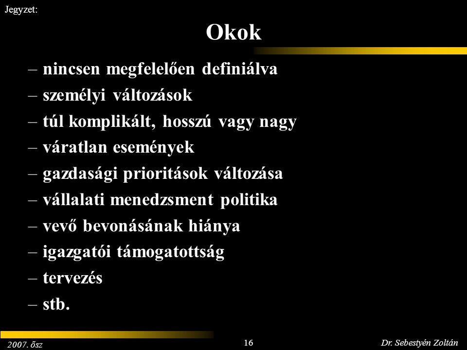 2007. ősz 16Dr. Sebestyén Zoltán Jegyzet: Okok –nincsen megfelelően definiálva –személyi változások –túl komplikált, hosszú vagy nagy –váratlan esemén