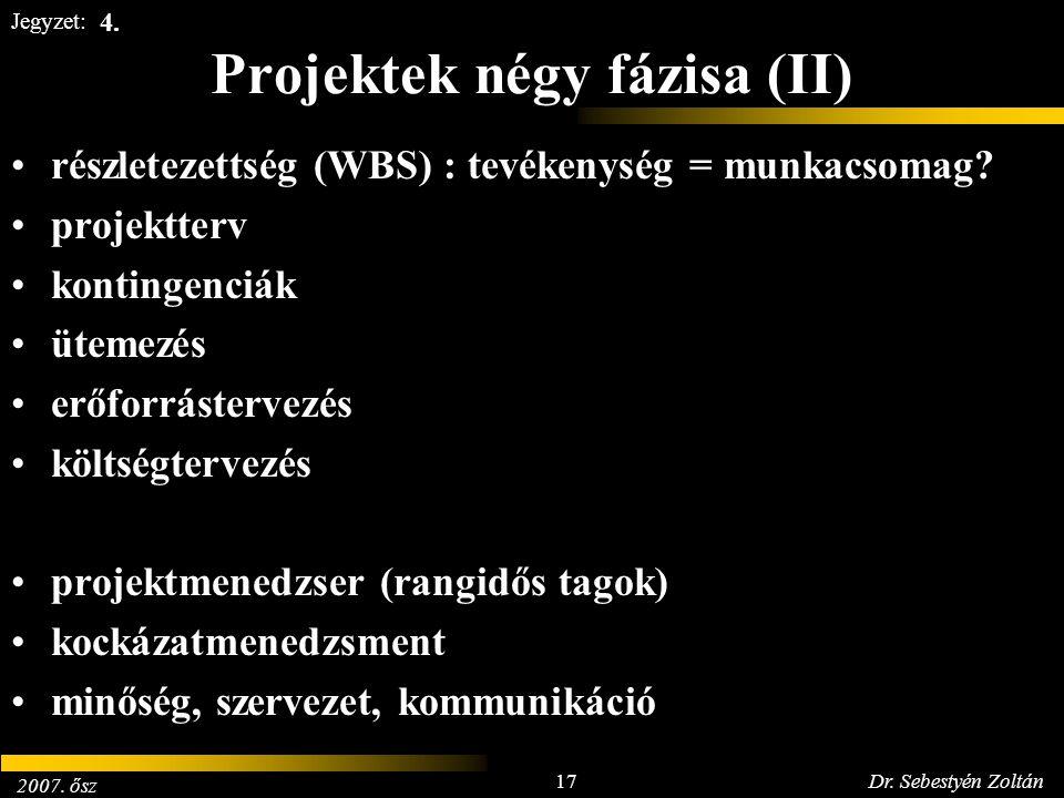 2007. ősz 17Dr. Sebestyén Zoltán Jegyzet: Projektek négy fázisa (II) részletezettség (WBS) : tevékenység = munkacsomag? projektterv kontingenciák ütem