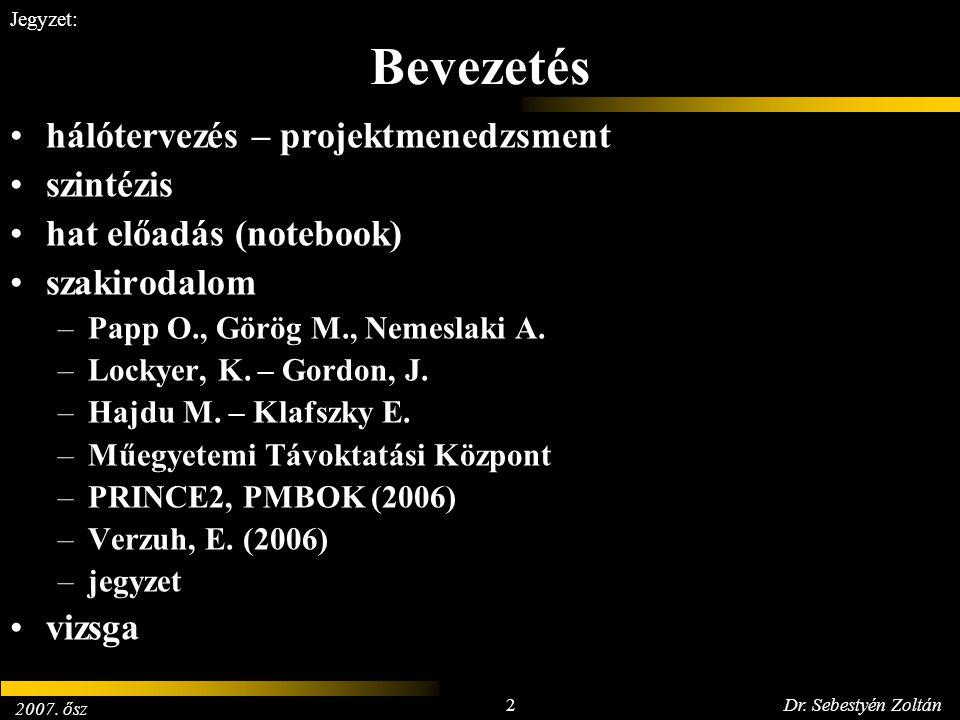 2007. ősz 2Dr. Sebestyén Zoltán Jegyzet: Bevezetés hálótervezés – projektmenedzsment szintézis hat előadás (notebook) szakirodalom –Papp O., Görög M.,
