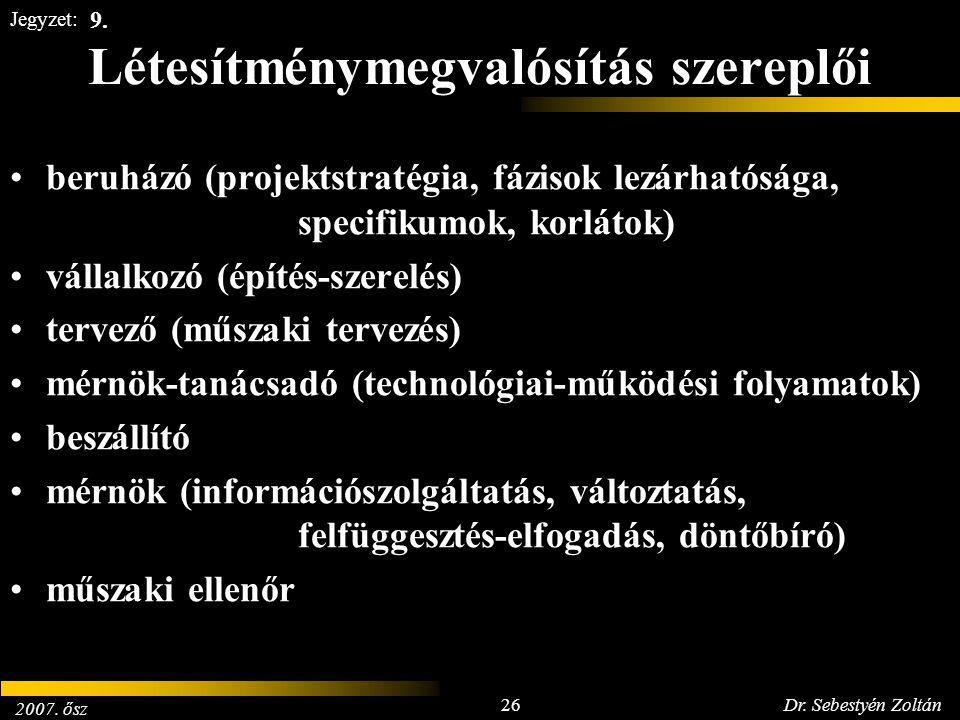 2007. ősz 26Dr. Sebestyén Zoltán Jegyzet: Létesítménymegvalósítás szereplői beruházó (projektstratégia, fázisok lezárhatósága, specifikumok, korlátok)