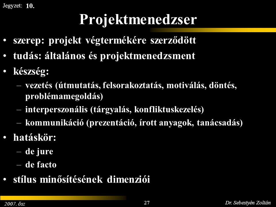 2007. ősz 27Dr. Sebestyén Zoltán Jegyzet: Projektmenedzser szerep: projekt végtermékére szerződött tudás: általános és projektmenedzsment készség: –ve