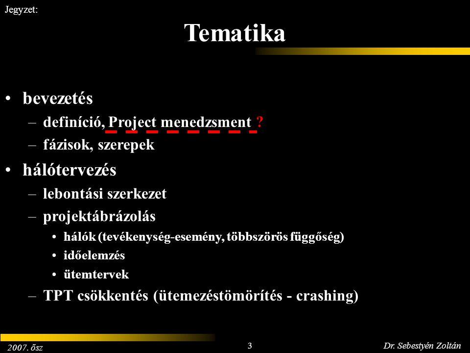 2007. ősz 3Dr. Sebestyén Zoltán Jegyzet: bevezetés –definíció, Project menedzsment ? –fázisok, szerepek hálótervezés –lebontási szerkezet –projektábrá