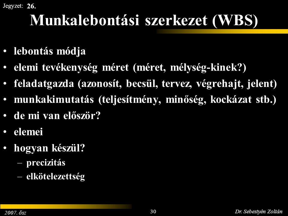 2007. ősz 30Dr. Sebestyén Zoltán Jegyzet: Munkalebontási szerkezet (WBS) lebontás módja elemi tevékenység méret (méret, mélység-kinek?) feladatgazda (