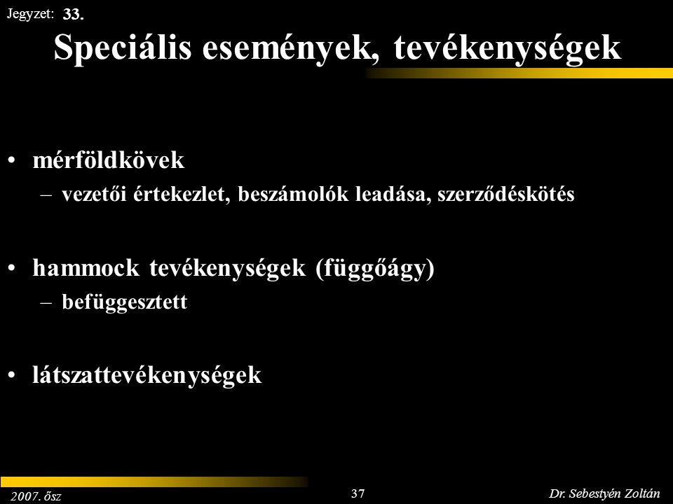 2007. ősz 37Dr. Sebestyén Zoltán Jegyzet: Speciális események, tevékenységek mérföldkövek –vezetői értekezlet, beszámolók leadása, szerződéskötés hamm