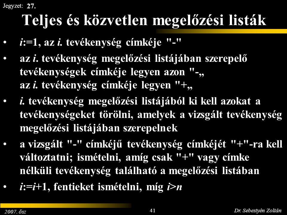 2007. ősz 41Dr. Sebestyén Zoltán Jegyzet: Teljes és közvetlen megelőzési listák i:=1, az i. tevékenység címkéje