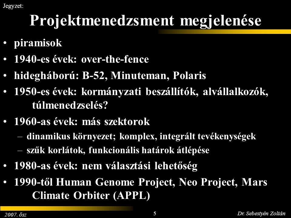 2007. ősz 5Dr. Sebestyén Zoltán Jegyzet: Projektmenedzsment megjelenése piramisok 1940-es évek: over-the-fence hidegháború: B-52, Minuteman, Polaris 1
