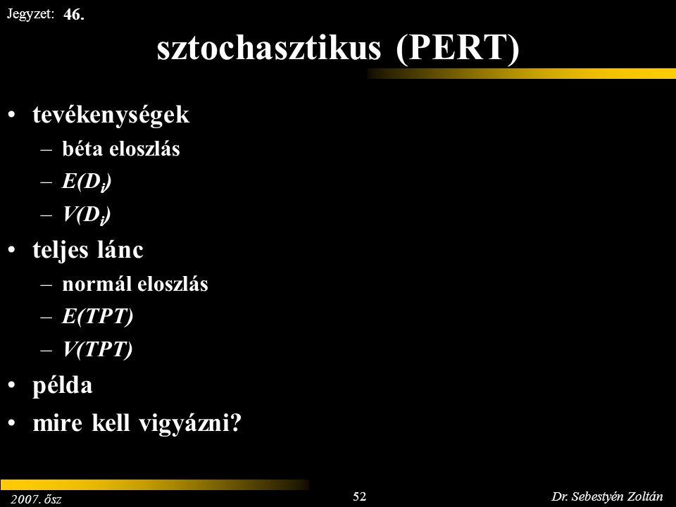 2007. ősz 52Dr. Sebestyén Zoltán Jegyzet: sztochasztikus (PERT) tevékenységek –béta eloszlás –E(D i ) –V(D i ) teljes lánc –normál eloszlás –E(TPT) –V