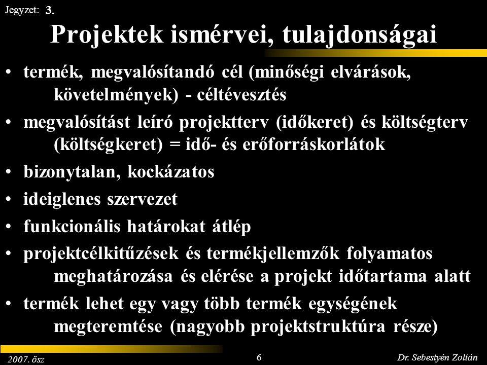 2007. ősz 6Dr. Sebestyén Zoltán Jegyzet: Projektek ismérvei, tulajdonságai termék, megvalósítandó cél (minőségi elvárások, követelmények) - céltéveszt