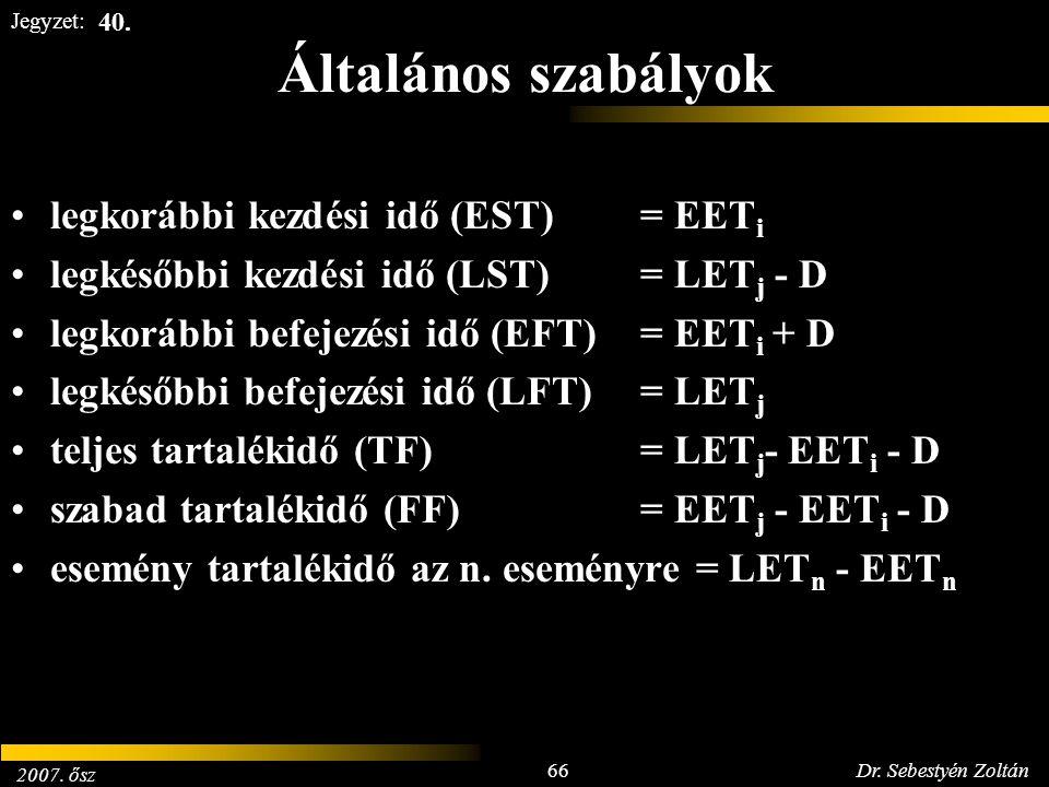 2007. ősz 66Dr. Sebestyén Zoltán Jegyzet: Általános szabályok legkorábbi kezdési idő (EST)= EET i legkésőbbi kezdési idő (LST)= LET j - D legkorábbi b