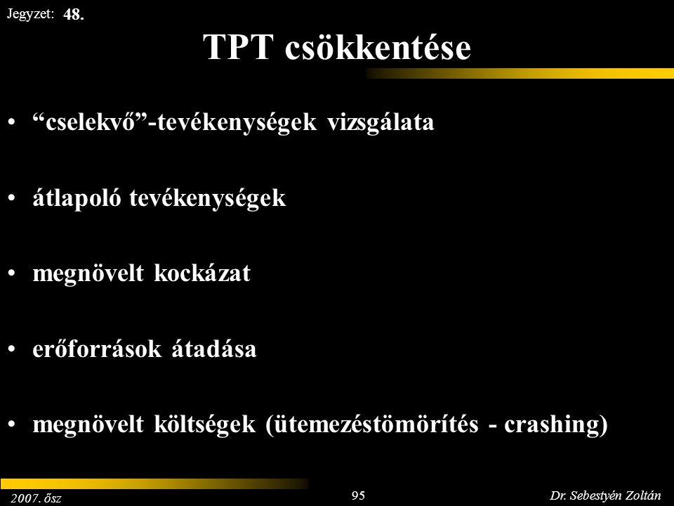 """2007. ősz 95Dr. Sebestyén Zoltán Jegyzet: TPT csökkentése """"cselekvő""""-tevékenységek vizsgálata átlapoló tevékenységek megnövelt kockázat erőforrások át"""