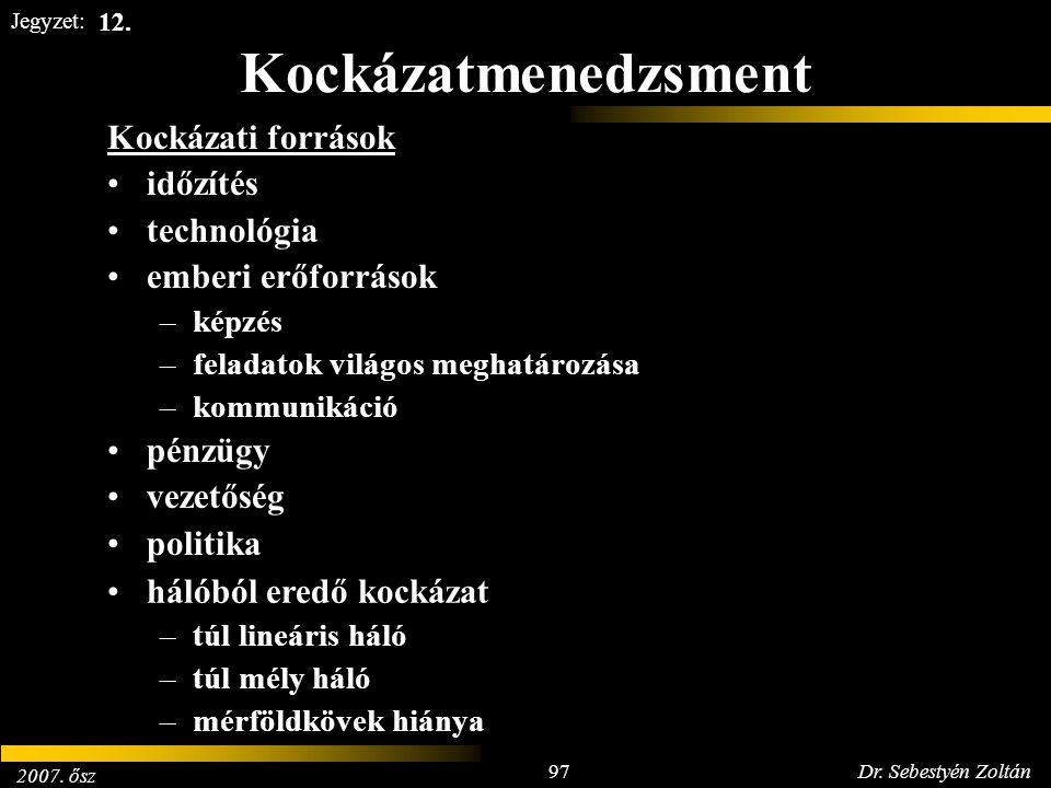 2007. ősz 97Dr. Sebestyén Zoltán Jegyzet: Kockázatmenedzsment Kockázati források időzítés technológia emberi erőforrások –képzés –feladatok világos me