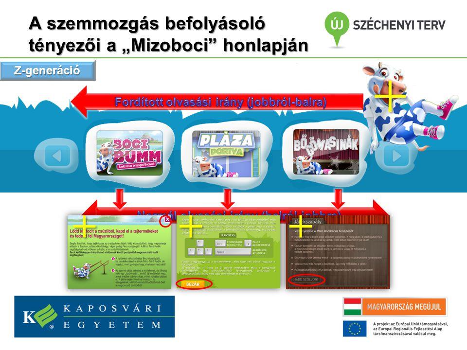 """A szemmozgás befolyásoló tényezői a """"Mizoboci honlapján Z-generáció"""