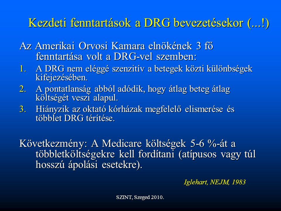 Kezdeti fenntartások a DRG bevezetésekor (...!) Az Amerikai Orvosi Kamara elnökének 3 fő fenntartása volt a DRG-vel szemben: 1.A DRG nem eléggé szenzitív a betegek közti különbségek kifejezésében.