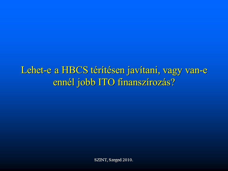 Lehet-e a HBCS térítésen javítani, vagy van-e ennél jobb ITO finanszírozás? SZINT, Szeged 2010.