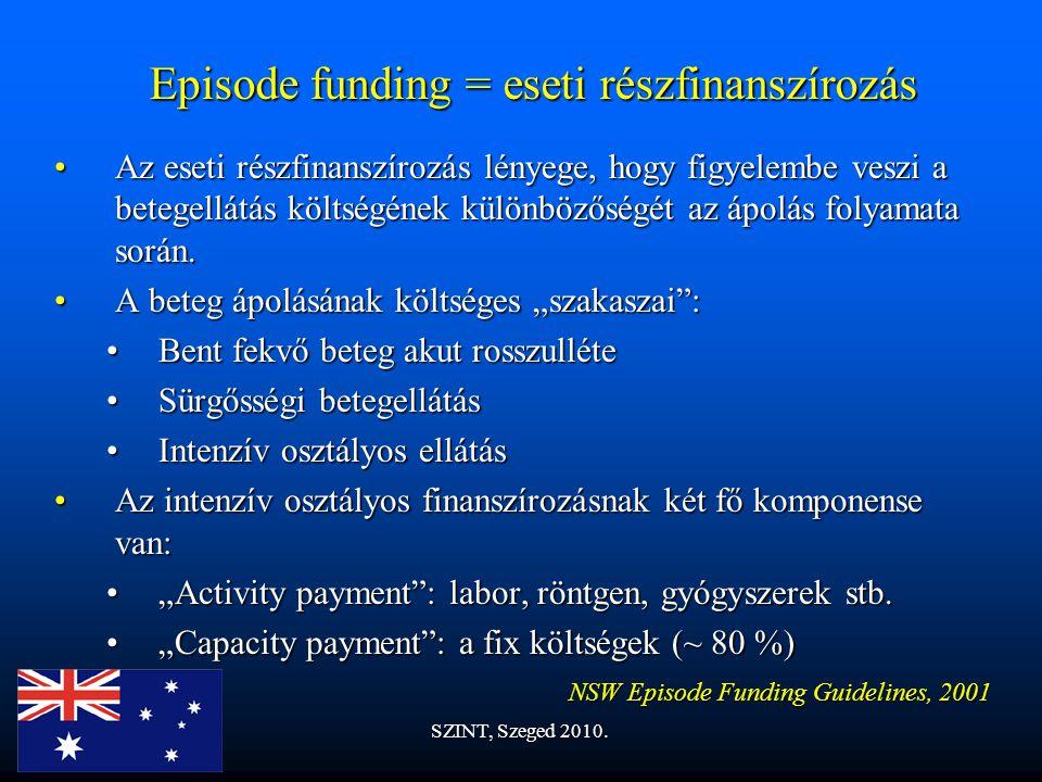 Episode funding = eseti részfinanszírozás Az eseti részfinanszírozás lényege, hogy figyelembe veszi a betegellátás költségének különbözőségét az ápolás folyamata során.Az eseti részfinanszírozás lényege, hogy figyelembe veszi a betegellátás költségének különbözőségét az ápolás folyamata során.