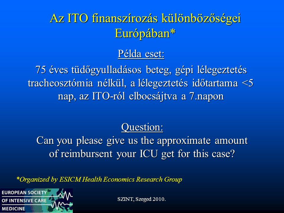Az ITO finanszírozás különbözőségei Európában* Példa eset: 75 éves tüdőgyulladásos beteg, gépi lélegeztetés tracheosztómia nélkül, a lélegeztetés időtartama <5 nap, az ITO-ról elbocsájtva a 7.napon Question: Can you please give us the approximate amount of reimbursent your ICU get for this case.