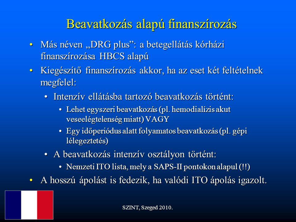 """Beavatkozás alapú finanszírozás Más néven """"DRG plus : a betegellátás kórházi finanszírozása HBCS alapúMás néven """"DRG plus : a betegellátás kórházi finanszírozása HBCS alapú Kiegészítő finanszírozás akkor, ha az eset két feltételnek megfelel:Kiegészítő finanszírozás akkor, ha az eset két feltételnek megfelel: Intenzív ellátásba tartozó beavatkozás történt:Intenzív ellátásba tartozó beavatkozás történt: Lehet egyszeri beavatkozás (pl."""