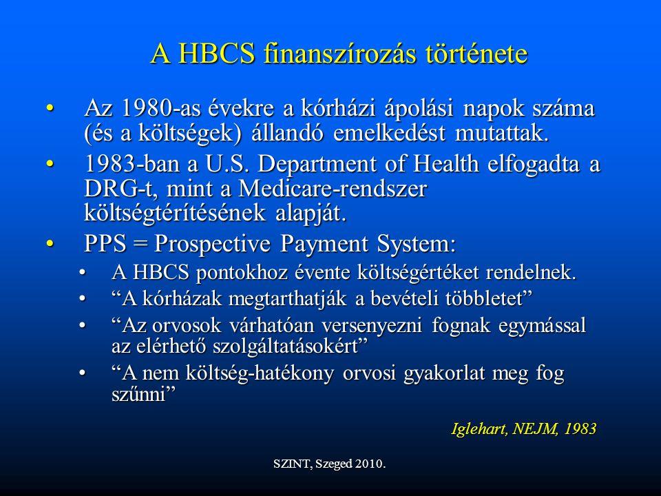 A HBCS finanszírozás története Az 1980-as évekre a kórházi ápolási napok száma (és a költségek) állandó emelkedést mutattak.Az 1980-as évekre a kórházi ápolási napok száma (és a költségek) állandó emelkedést mutattak.