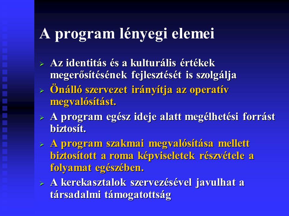 A program lényegi elemei  Az identitás és a kulturális értékek megerősítésének fejlesztését is szolgálja  Önálló szervezet irányítja az operatív megvalósítást.