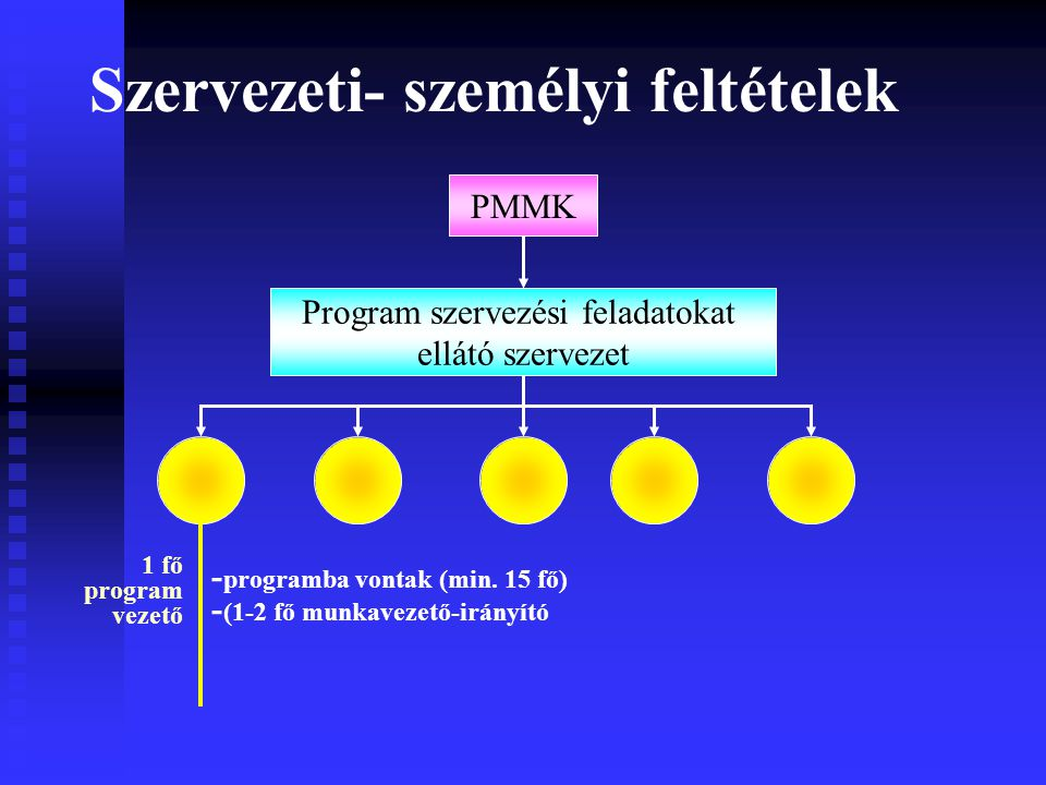 Szervezeti- személyi feltételek Program szervezési feladatokat ellátó szervezet - programba vontak (min.