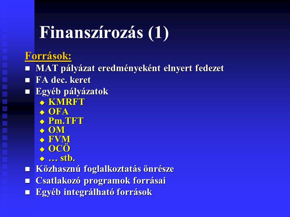 Finanszírozás (1) Források: MAT pályázat eredményeként elnyert fedezet MAT pályázat eredményeként elnyert fedezet FA dec.