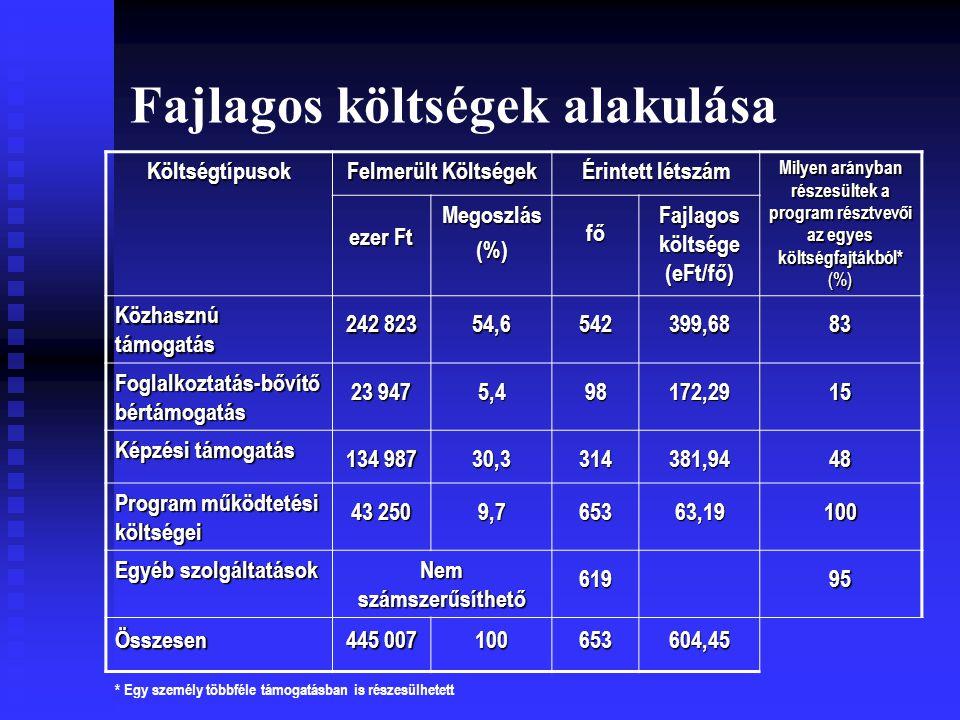 Fajlagos költségek alakulása Költségtípusok Felmerült Költségek Érintett létszám Milyen arányban részesültek a program résztvevői az egyes költségfajtákból* (%) ezer Ft Megoszlás(%)fő Fajlagos költsége (eFt/fő) Közhasznú támogatás 242 823 54,6542399,6883 Foglalkoztatás-bővítő bértámogatás 23 947 5,498172,2915 Képzési támogatás 134 987 30,3314381,9448 Program működtetési költségei 43 250 9,765363,19100 Egyéb szolgáltatások Nem számszerűsíthető 61995 Összesen 445 007 100653604,45 * Egy személy többféle támogatásban is részesülhetett
