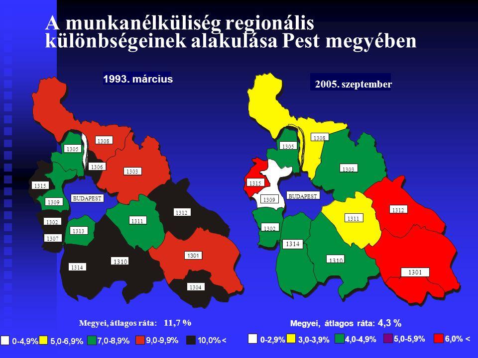 A munkanélküliség regionális különbségeinek alakulása Pest megyében 0-2,9%3,0-3,9% 4,0-4,9% 5,0-5,9%6,0% < Megyei, átlagos ráta: 4,3 % 1310 1302 1303 1305 1308 1309 1311 1312 1315 BUDAPEST 2005.
