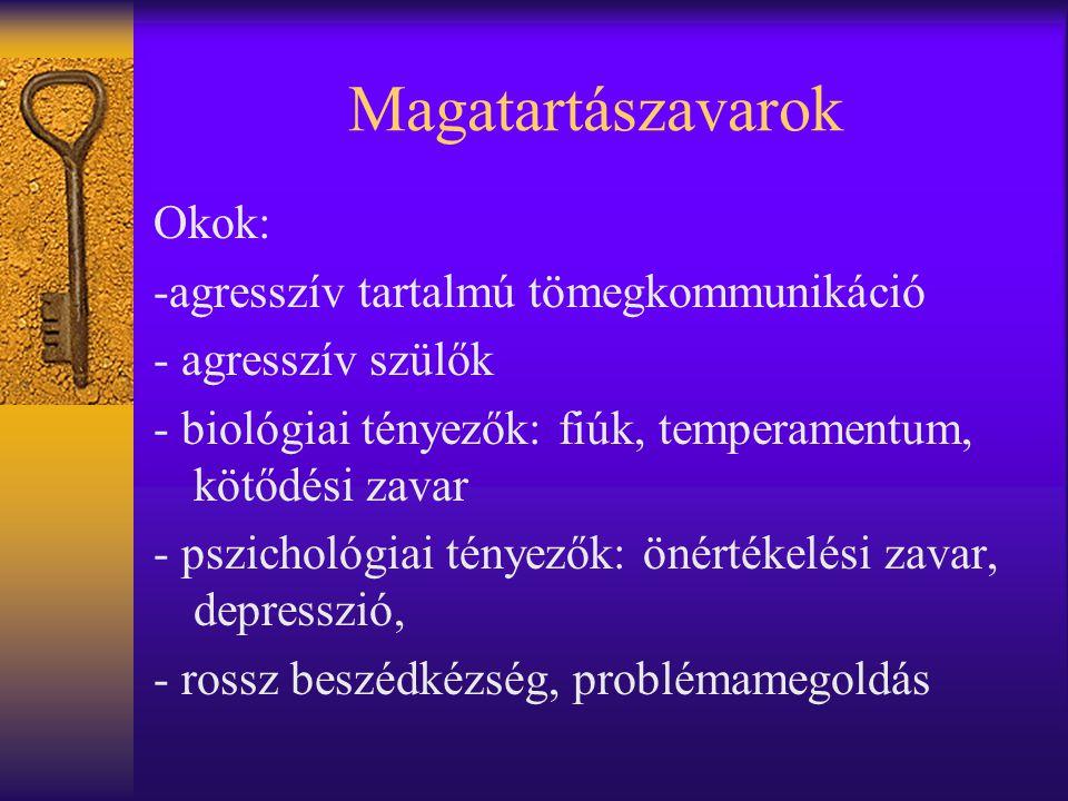 Magatartászavarok Okok: -agresszív tartalmú tömegkommunikáció - agresszív szülők - biológiai tényezők: fiúk, temperamentum, kötődési zavar - pszicholó
