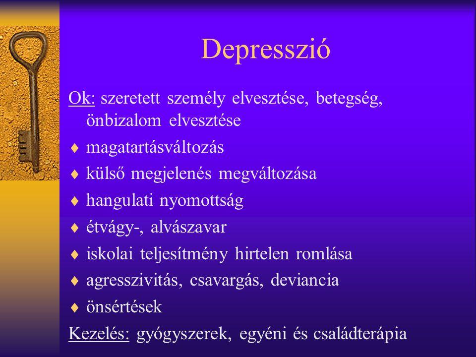 Depresszió Ok: szeretett személy elvesztése, betegség, önbizalom elvesztése  magatartásváltozás  külső megjelenés megváltozása  hangulati nyomottsá