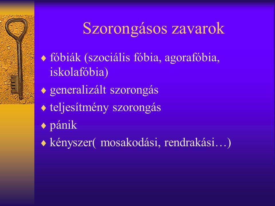 Szorongásos zavarok  fóbiák (szociális fóbia, agorafóbia, iskolafóbia)  generalizált szorongás  teljesítmény szorongás  pánik  kényszer( mosakodá