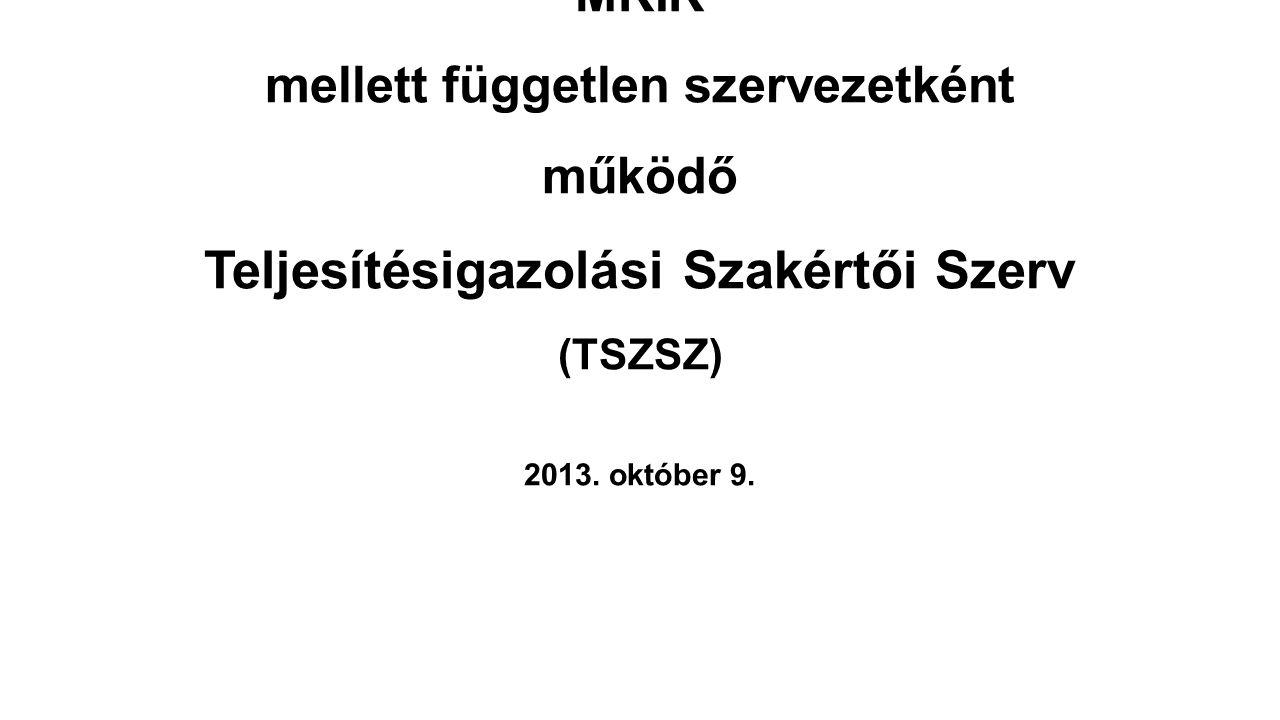 MKIK MKIK mellett független szervezetként működő Teljesítésigazolási Szakértői Szerv (TSZSZ) 2013.