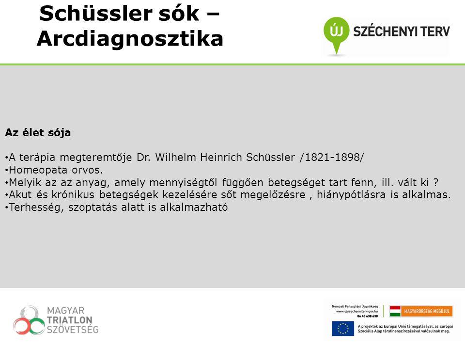 Az élet sója A terápia megteremtője Dr. Wilhelm Heinrich Schüssler /1821-1898/ Homeopata orvos. Melyik az az anyag, amely mennyiségtől függően betegsé