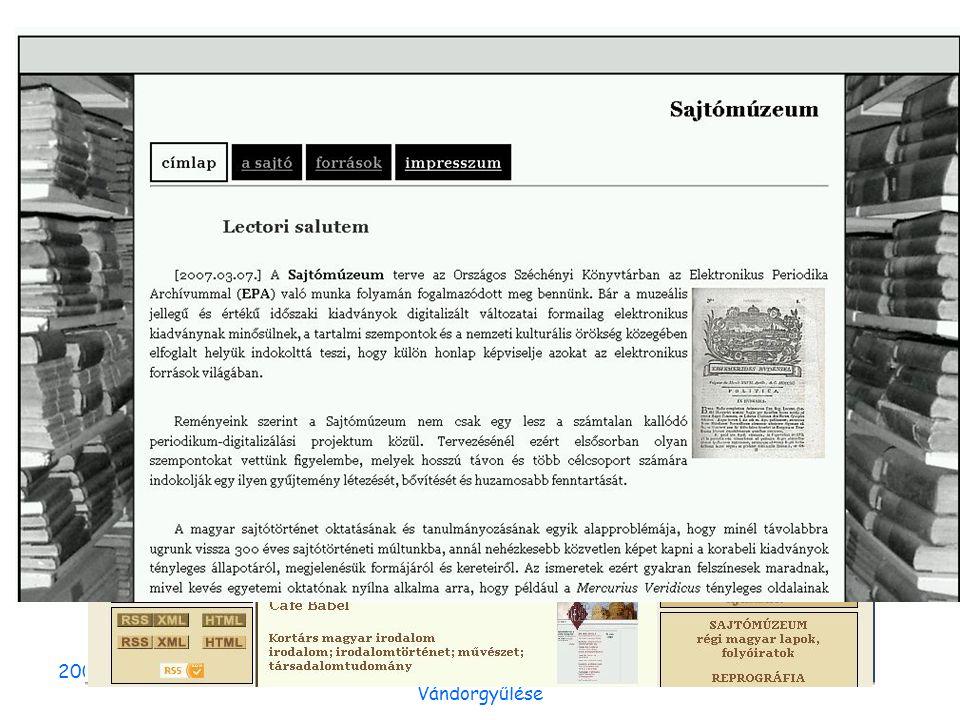 2007. október 12.Erdélyi Magyar könyvtárosok IV. Vándorgyűlése Nyilvántartások, koordinálás Nemzeti Digitális Adattár projekt Folyóirat digitalizálás