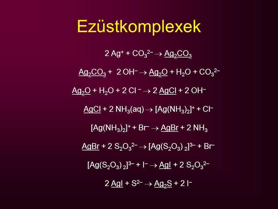 Ezüstkomplexek 2 Ag + + CO 3 2–  Ag 2 CO 3 Ag 2 CO 3 + 2 OH –  Ag 2 O + H 2 O + CO 3 2– Ag 2 O + H 2 O + 2 Cl –  2 AgCl + 2 OH – AgCl + 2 NH 3 (aq)