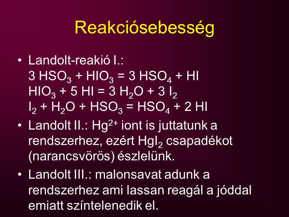 Reakciósebesség Landolt-reakió I.: 3 HSO 3 + HIO 3 = 3 HSO 4 + HI HIO 3 + 5 HI = 3 H 2 O + 3 I 2 I 2 + H 2 O + HSO 3 = HSO 4 + 2 HI Landolt II.: Hg 2+