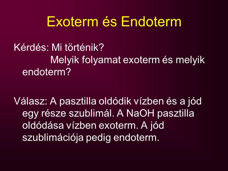 Exoterm és Endoterm Kérdés: Mi történik? Melyik folyamat exoterm és melyik endoterm? Válasz: A pasztilla oldódik vízben és a jód egy része szublimál.
