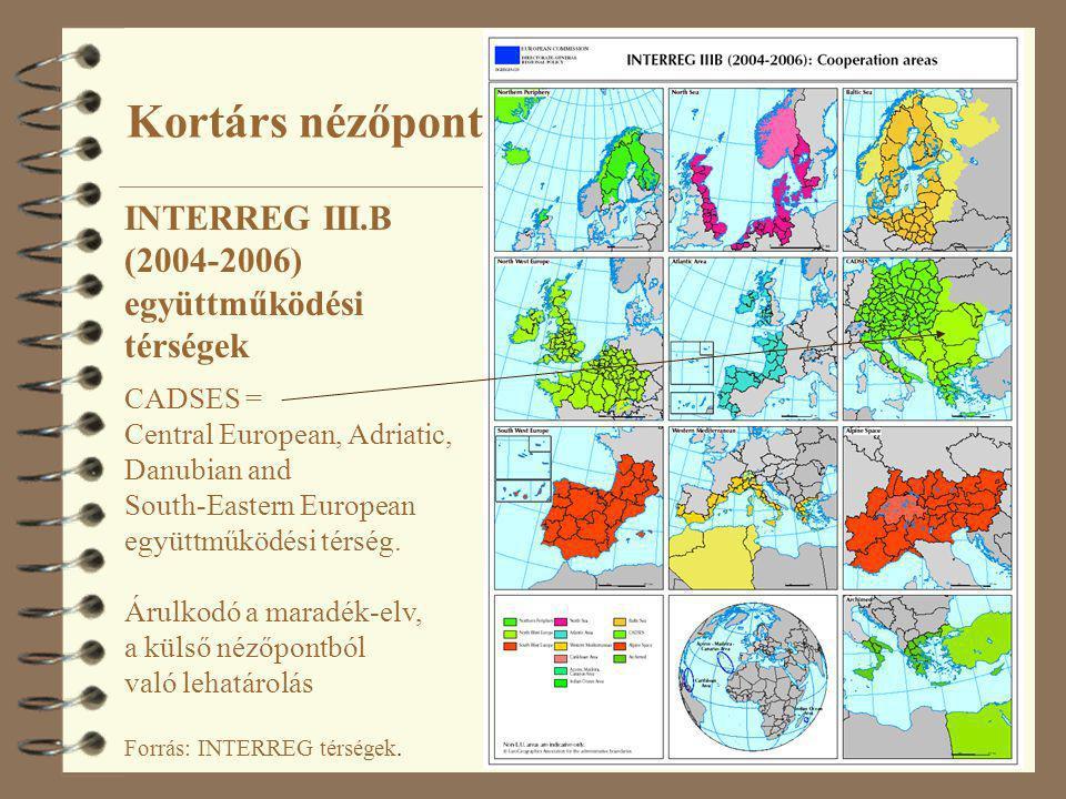 10 Forrás: INTERREG térségek. INTERREG III.B (2004-2006) együttműködési térségek CADSES = Central European, Adriatic, Danubian and South-Eastern Europ