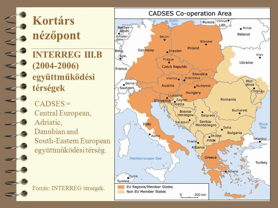 11 Forrás: INTERREG térségek. INTERREG III.B (2004-2006) együttműködési térségek CADSES = Central European, Adriatic, Danubian and South-Eastern Europ