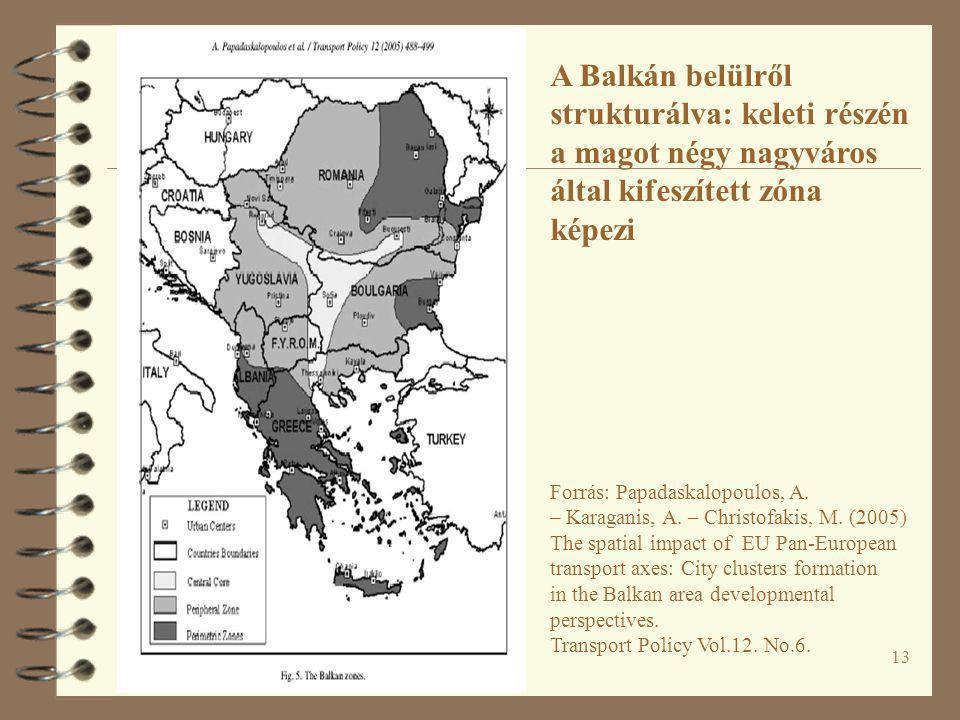 13 A Balkán belülről strukturálva: keleti részén a magot négy nagyváros által kifeszített zóna képezi Forrás: Papadaskalopoulos, A. – Karaganis, A. –