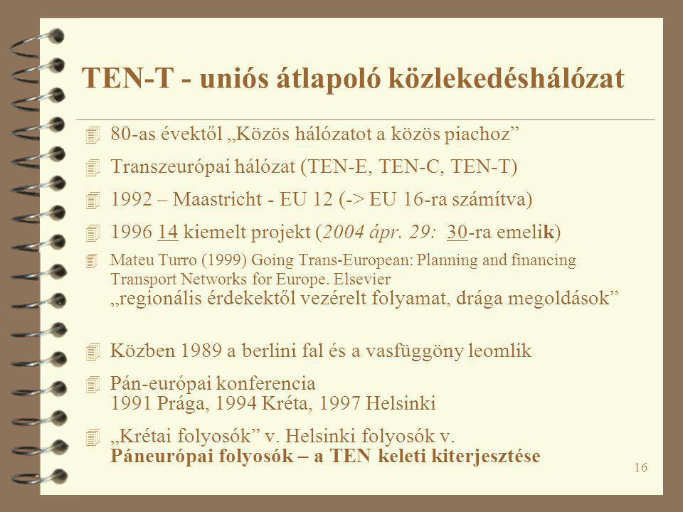 """16 4 80-as évektől """"Közös hálózatot a közös piachoz"""" 4 Transzeurópai hálózat (TEN-E, TEN-C, TEN-T) 4 1992 – Maastricht - EU 12 (-> EU 16-ra számítva)"""