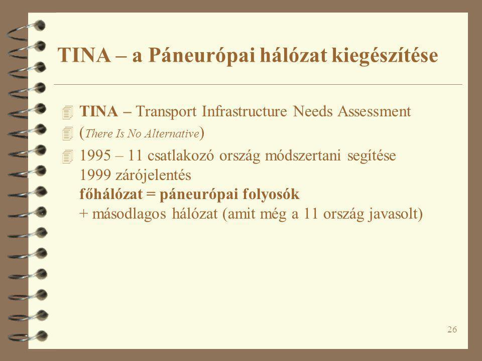 26 4 TINA – Transport Infrastructure Needs Assessment 4 ( There Is No Alternative ) 4 1995 – 11 csatlakozó ország módszertani segítése 1999 zárójelent